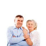 Happy and smiling senior couple in love isolated Stock Photos
