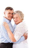 Happy and smiling senior couple in love isolated Stock Images