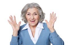 Smiling senior woman. Happy Smiling senior woman  isolated on white background Royalty Free Stock Photo