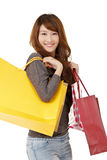 Happy smiling shopping gir Royalty Free Stock Photography