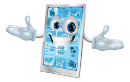 Happy smiling silver and blue phone Royalty Free Stock Image