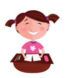 Happy smiling small girl learning in classroom. Small girl posing in classroom. She is learning to read - she is study hard and doing homework Stock Image
