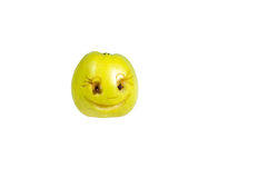 Happy smiling smiley out of the apple. Feelings, attitudes  Royalty Free Stock Image