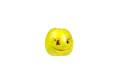 Happy smiling smiley out of the apple. Feelings, attitudes Stock Images