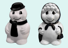 Happy smiling snowman and snow woman Royalty Free Stock Photos
