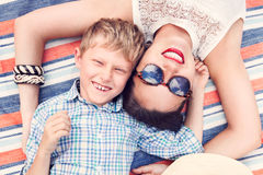 Happy smiling son with mother Royalty Free Stock Images