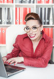 Happy smiling success crazy business woman Royalty Free Stock Photo