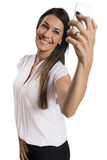 Happy smiling successful businesswoman with cell phone. Happy smiling successful businesswoman with cell phone, isolated on white background Stock Photo