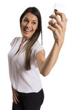 Happy smiling successful businesswoman with cell phone. Happy smiling successful businesswoman with cell phone, isolated on white background Royalty Free Stock Images