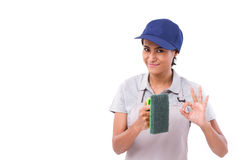 Happy, smiling, successful female cleaner giving ok hand sign ge Royalty Free Stock Photo