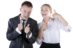 Happy smiling successful gesturing businesspeople Royalty Free Stock Photo