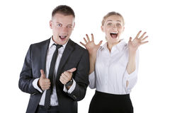 Happy smiling successful gesturing businesspeople Royalty Free Stock Images