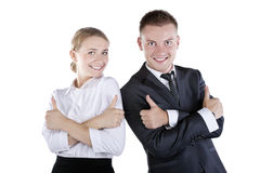 Happy smiling successful gesturing businesspeople Stock Photography