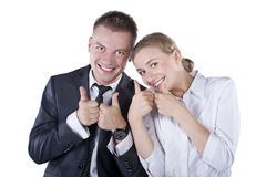 Happy smiling successful gesturing businesspeople Stock Photos