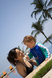 Happy smiling summer family. Vacation holiday or vacations fun Stock Images