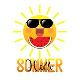 Happy smiling summer sun in sunglasses eating watermelon on white background Royalty Free Stock Photography
