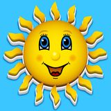 Happy smiling sun on sky Stock Image