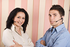 Happy smiling support operator team stock photography