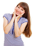 Happy smiling surprised girl on white Stock Photography