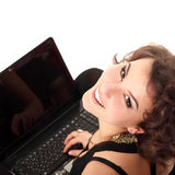 Happy smiling teen girl cute cheerful studing with notebook Stock Image