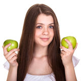 Happy smiling teen girl with green apple Stock Image