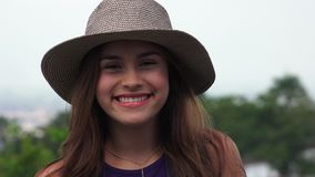 Happy Smiling Teen Girl Wearing Hat stock video