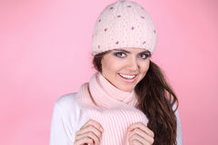 Happy smiling teenage girl wearing winter clothes Stock Photos