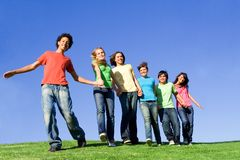 Happy smiling teenagers Stock Photography