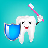 Happy Smiling Tooth With Toothbrush And Shield. Royalty Free Stock Image