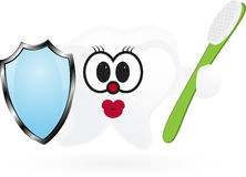 Happy Smiling Tooth With Toothbrush And Shield. Stock Image