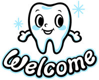 Happy smiling tooth (Welcome) Stock Images