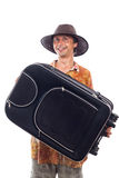 Happy smiling traveller with luggage Royalty Free Stock Image
