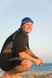 Happy smiling triathlete. Royalty Free Stock Images