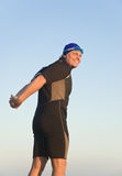 Happy smiling triathlete. Stock Image