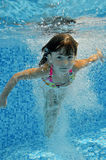 Happy smiling underwater child in swimming pool Stock Image