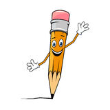 Happy smiling waving graphite pencil Royalty Free Stock Photo
