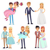 Happy smiling wedding couples isolated vector set. Stock Image