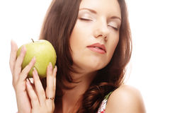 happy smiling woman with apple Stock Images