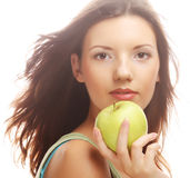 Happy smiling woman with apple, isolated on white Stock Images