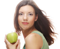 Happy smiling woman with apple, isolated on white Royalty Free Stock Images