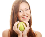 Happy smiling woman with apple, isolated on white Royalty Free Stock Photography