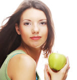 Happy smiling woman with apple, isolated on white Stock Photo