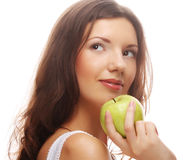 happy smiling woman with apple Royalty Free Stock Image