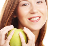 happy smiling woman with apple Stock Photo