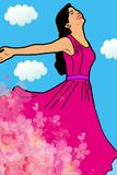 Happy smiling woman with arms outstretched stock illustration