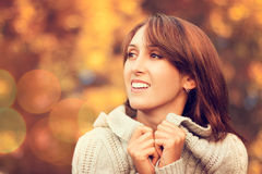 Happy Smiling Woman on Autumn Background Royalty Free Stock Photography