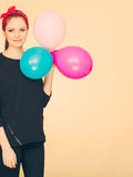 Happy smiling woman with balloons. Stock Photos