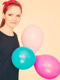 Happy smiling woman with balloons. Royalty Free Stock Photography