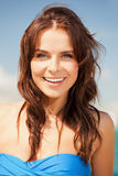 Happy smiling woman on the beach. Bright picture of happy smiling woman on the beach Royalty Free Stock Image