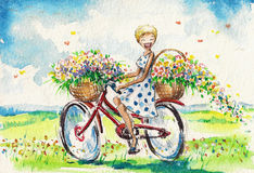 Women on bicycle. Happy,smiling woman on bicycle with baskets full of flowers. Watercolour illustration Stock Image